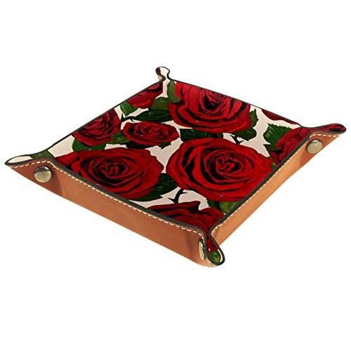 AITAI Bandeja de valet de cuero vegano organizador de mesita de noche, plato de almacenamiento Catchall hermosas rosas rojas con patrón de hojas verdes