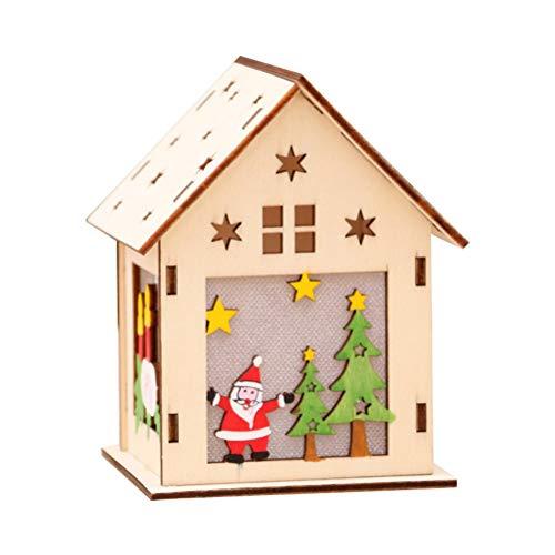 Vosarea LED Holzhäuser Weihnachtshäuser Holz Weihnachtsbaum Anhänger Weihnachtsdeko Weihnachtsdorf Häuser (Groß Santa)