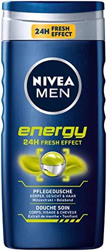 NIVEA Men Duschgel für Körper, Gesicht & Haar, 250 ml Flasche, Energy