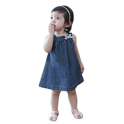 Baby Mädchen Kleider, Longra Kleinkind Baby Ärmellos Sommerkleider Spaghetti-Kleid Trägerkleid Mädchen Jeanskleider Denim Kleid Tankshirt Jeans T-Shirt Kleider (Blue, 100CM 2Jahre)