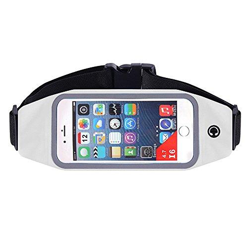 Laufgürtel mit einem Kopfhörerloch und einem Schwitzbeutel-Fenster kann den Bildschirm des Laufgürtels berühren Unisex-Stil für Männer oder Frauen (Farbe : Weiß, Größe : 5.5inches)