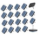 Planeadores de silla, deslizadores de muebles de teflón fácil de mover almohadillas cuadradas con protector de pies de uñas para alfombras, azulejos, suelo de madera dura (20 unidades, azul)