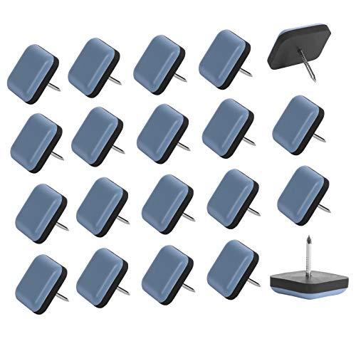 Möbelgleiter, 20 Stück Teflon Stuhlgleiter Eckig Mit Nagel für Geflieste, Hartholz Böden (Blau)
