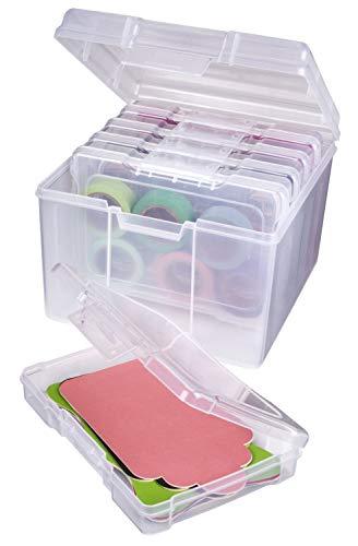 ArtBin 6947ZZ Foto- und Bastelorganizer Set, große Box mit [5] Kunststoff-Aufbewahrungsboxen innen, transparent, 5 Stück