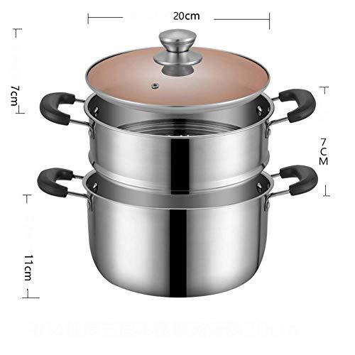 Suppenauflauf, tiefe Suppe Topf aus rostfreiem Stahl Chefkoch & rsquo; s Topf mit Glasdeckel und zwei Griffen Mehrzweck-Suppentopf mit Dampfgarer für Suppe Hotpot Pasta -b