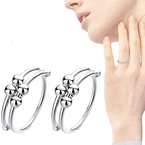 Anillo de ansiedad ajustable con cuentas deslizantes, anillo de ansiedad Fidget con cuentas para mujeres y hombres, anillos en espiral de una sola bobina, dedo ajustable plateado (plata 2 piezas)