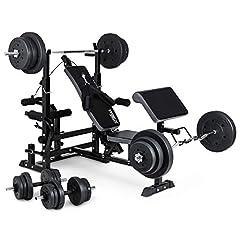 Trex vikt bänk hydromy05 med hantel set, skivstång, curl bar och hantlar, vikter 50kg till 160kg (110kg + lång / curl / kort hantel)