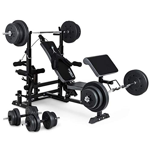 TREX Weight Bench Multi Gym TX-075 with Butterfly, Leg Cur and Preacher Pad+ Barbell and...