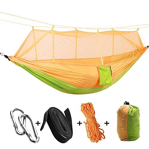 ZOYAFA Hamacas para 1 – 2 personas al aire libre, mosquitero, paracaídas, hamaca para acampar, cama de dormir, columpio portátil, silla doble, Hamac verde militar (color amarillo y verde)