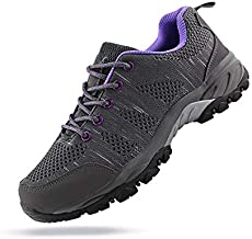 JABASIC Women Hiking Shoes Breathable Mesh Athletic Outdoor Sneakers (Grey/Purple,9)
