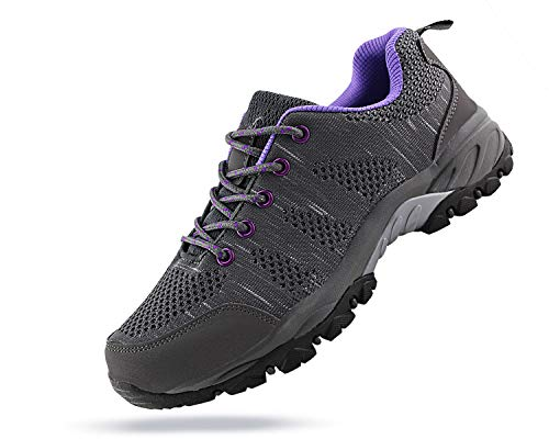 JABASIC Women Hiking Shoes Breathable Mesh Athletic Outdoor Sneakers (Grey/Purple,9.5)