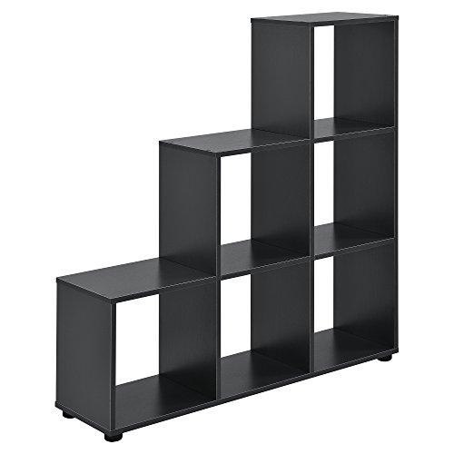 [en.casa] Estantería en Forma de Escalera estilosa - Estantería de Almacenamiento con 6 compartimientos - Estantería de pie 104 x 107 x 29cm - Armario - Gris