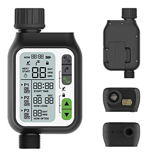Yongqin Sistema De Temporizador De Riego Temporizador De Agua De Jardín Pantalla LCD Controlador De Aspersor Automático Electrónico Sensor De Lluvia Bloqueo para Niños Programas Separados Te