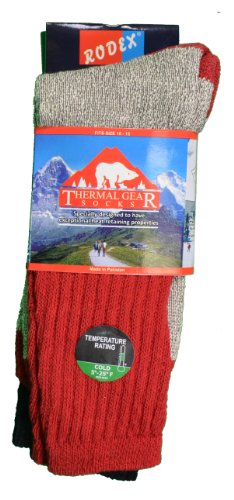 Price comparison product image Rodex 3 Pairs Thermal Gear Socks Boot Hiking Warm Winter Mens Size 10-15 colors may vary