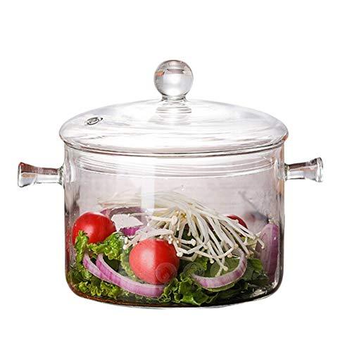 Glas Kochtopf-1.3L Heizbar Klar Stockpot-Transparentes Glas Cooker Für Salat Instantnudeln, Beheizbare Transparentes Glas Stockpot Für Salat Instantnudeln Mit Deckel