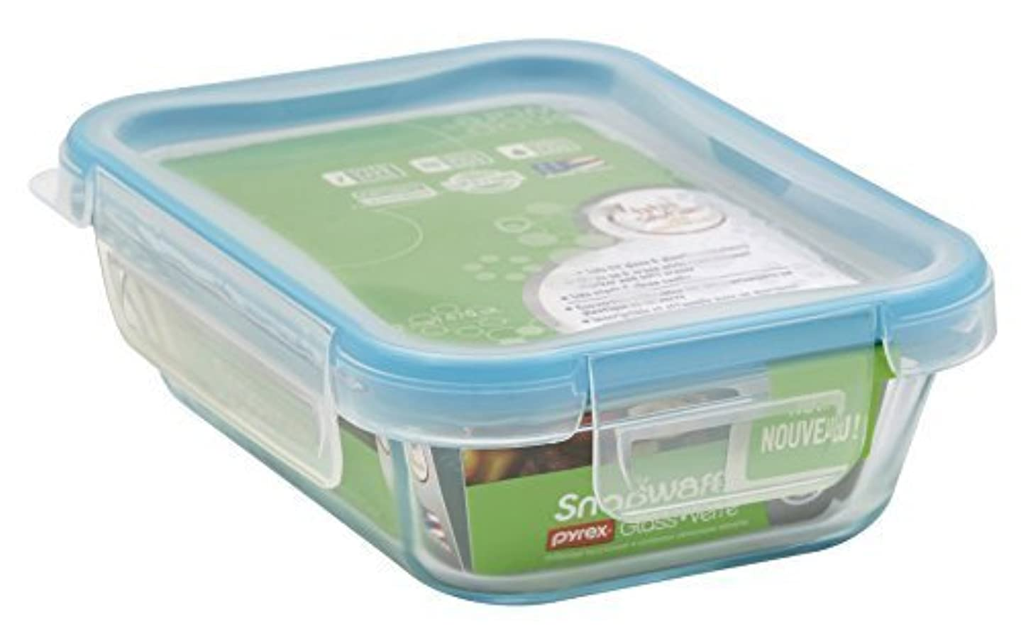 Snapware 1109307 2 Cup Glass Rectangle With Plastic Lid by Snapware