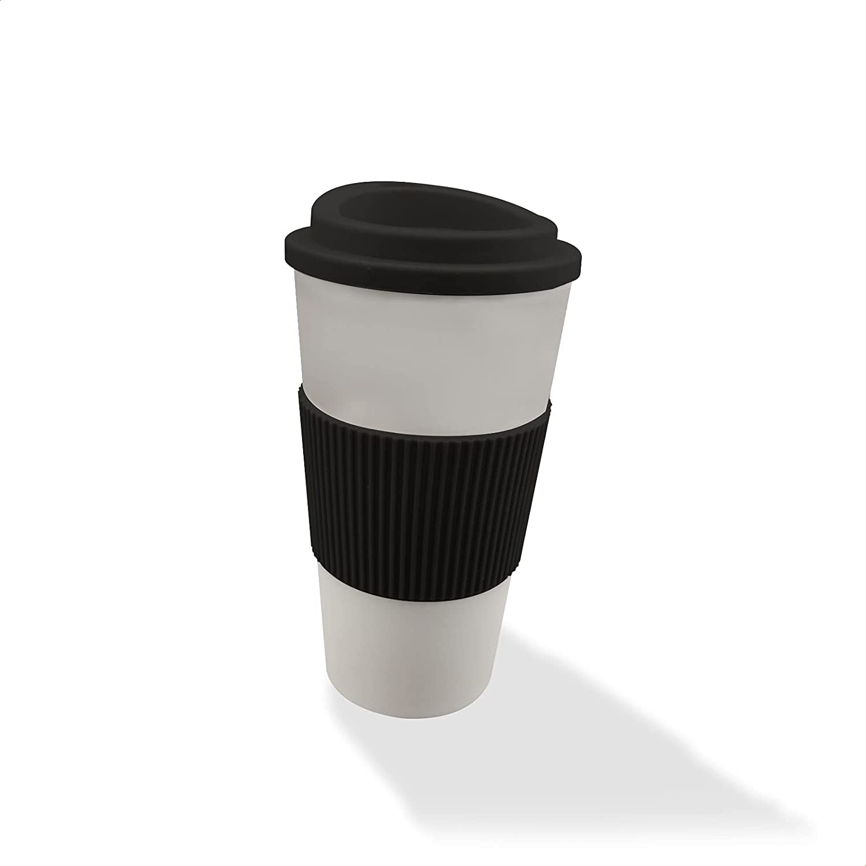 EUROXANTY Vaso de Café Termo   Taza Ecológica Reutilizable   Protector Térmico y Antideslizante   500 Mililitros   Negro  