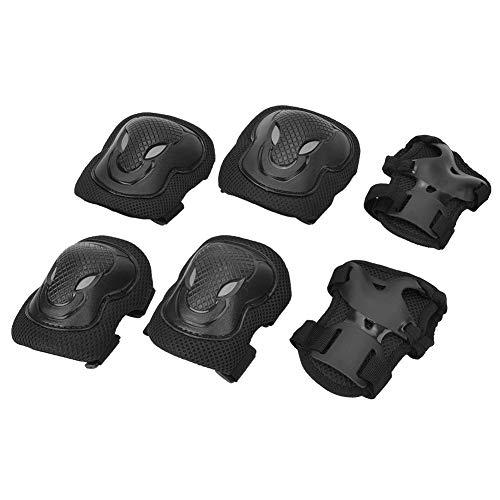 DaMohony Juego de Equipo de Protección para Patines Kit de Equipo de Protección 6 en 1 Rodilleras para Patines en Bicicleta. (Negro)