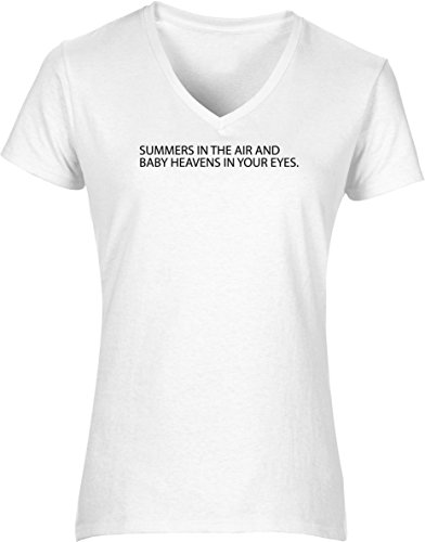 Hippowarehouse Summers in The air and Heavens in Your Eyes Womens V-Neck Short Sleeve t-Shirt (Specific Size Guide in Description) Fuchsia Pink