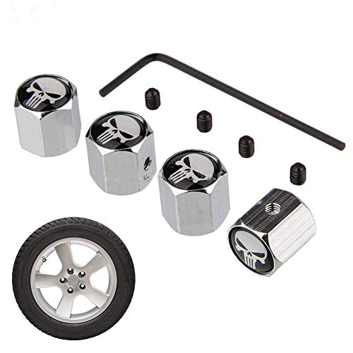 Eqlef® - 8diebstahlsichere Ventilkappen für Auto-Reifen mit Schädel-Motiv