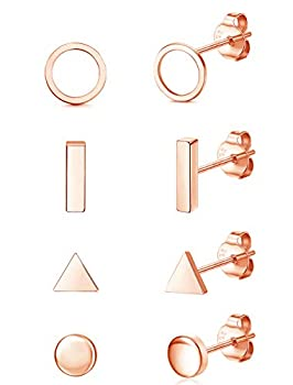 Fansilver 4 Pairs 925 Sterling Silver Disc Stud Earrings Tiny Dot/Mini Bar/Circle/Triangle Disc Stud Earrings Small Geometric Stud Earrings Set Hypoallergenic Jewelry Rose Gold