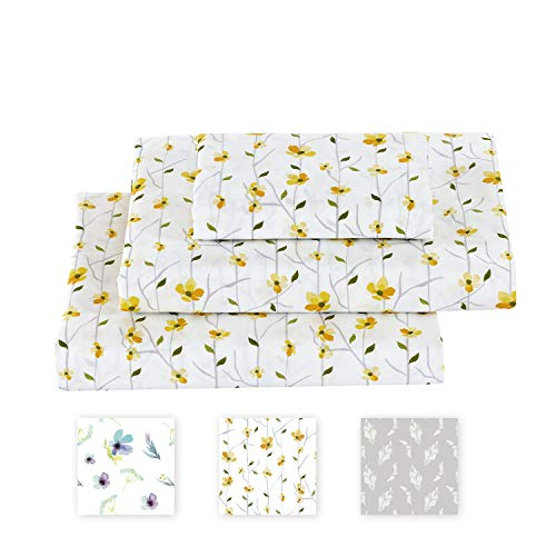 softan Queen Bed Sheet Set, 4 PC Floral Printed Brushed Microfiber Elegant Bedding Set, 1 Flat Sheet,1 Deep Pocket Fitted Sheet, and 2 Pillow Cases, Breathable & Silky Soft Feeling Sheets.