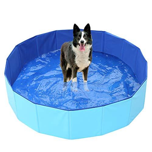 Generies - Piscina portatile per animali domestici, pieghevole per piscina, amaca, in PVC, per bambini, per cani, gatti e bambini, 78,7 x 27,9 cm, colore: blu