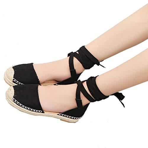 WggWy Sandalias de Moda Casuales de Las señoras, Soles Trenzados de Lino, cómodos Sandalias de Cordones, adecuados para Caminar en la Playa,Negro,38