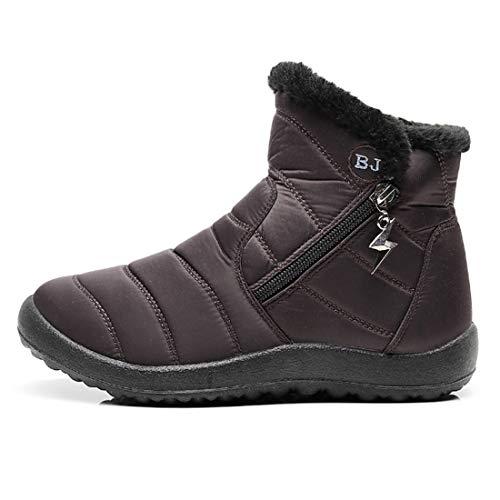 MU CHAO Botas de Nieve para Mujer Zapatos de algodón de Invierno Cremallera Lateral Impermeable Antideslizante Botines de Mujer Resistentes al Desgaste Calzado