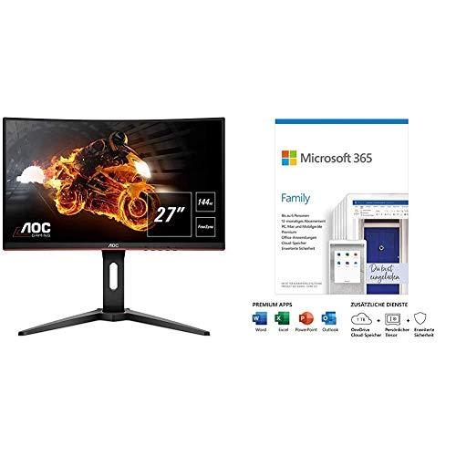 AOC Gaming C27G1 68,6 cm (27 Zoll) Curved Monitor (FHD, HDMI, 1ms, DisplayPort, 144 H + Microsoft 365 Family | 6 Nutzer | Box