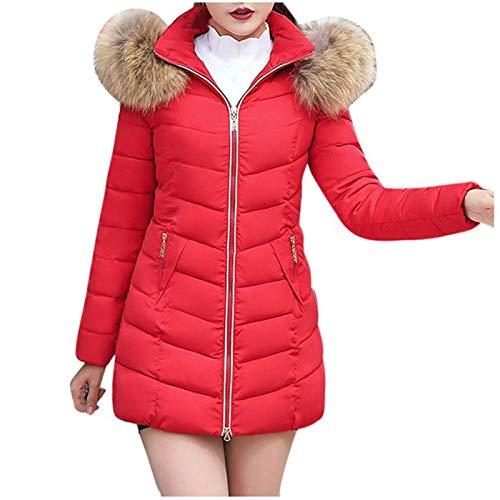 Damen Daunenjacke Winter Klassisch Outwear Warme Mantel Frauen Lange Dicke Pelzkragen Baumwolle Parka Slim Jacke Zipper Einfarbig Warm Jumper Top Outwear Bluse