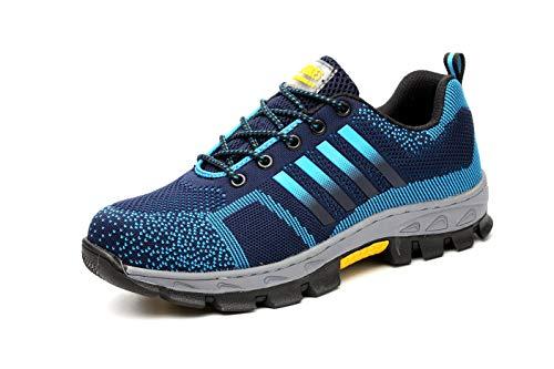 Aizeroth-UK Unisex Hombre Mujer Zapatillas de Seguridad con Punta de Acero Antideslizante S3 Zapatos de Trabajo Comodas Calzado de Trabajo Deportivos Botas de Protección Industria Construcción