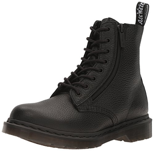 Dr. Martens Women's 1460 Pascal W/Zip Milled Nappa Combat Boot, Black, 8