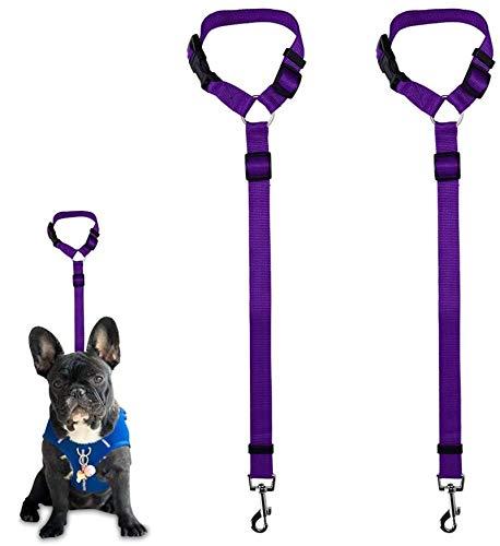 Dog Seat Belt, 2 Pack Safety Strap Car Headrest Restraint Adjustable Nylon Fabric Dog Restraints Vehicle Seat Belts Harness in Vehicle Travel Daily Use (Purple)