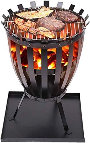 Steel Brazier Outdoor Garden Patio Heater Fire Burning Log Wood Burner Basket BBQ Grill Ash Tray,Square