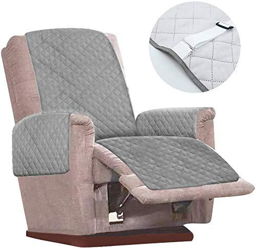 2021 - Funda de sillón relax reclinable para sillón relax, 1 plaza, impermeable, funda de protección, silla reclinable para niños, animales de compañía, color gris