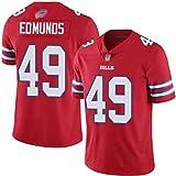 Edmunds # 49 Jersey de Rugby pour Hommes Bills Jersey de Football américain Game Sportswear Top Short Sleeve Jersey,Rouge,M