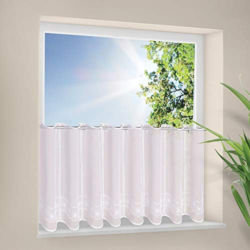 Scheibengardine Florina B/H: 145 x 45cm Moderne transparente Kurzgardine