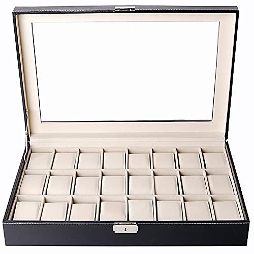 BHBCA Caja De Reloj, Caja De Almacenamiento De Reloj De Cuero, Caja De Relojes para Hombres Y Mujeres, Regalos del Día De San Valentín Regalos De Cumpleaños, 24 Ranuras