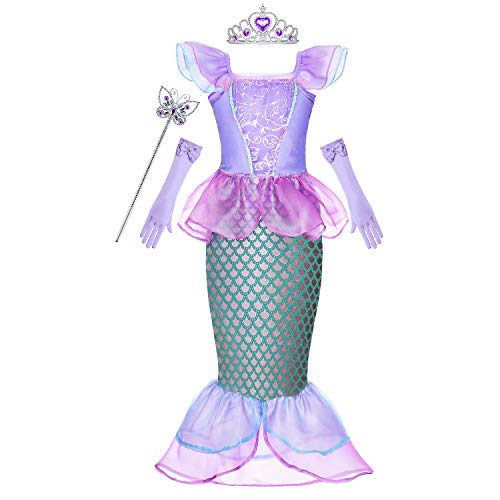 Princess Ariel Costume Little Girls Mermaid Dress Up Clothes Purple Fancy Outfit with Tiara Wand Mace Gloves Accessories Set for Toddler Kids Halloween Cosplay Birthday Party 3T 4T 3-4 Years