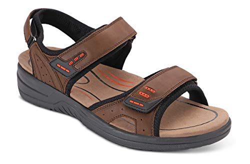 Orthofeet Proven Plantar Fasciitis and Foot Pain Relief. Extended Widths. Orthopedic Diabetic Arch Support Men's Sandals, Cambria Brown