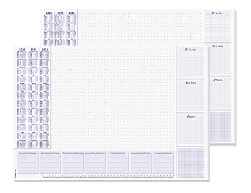 SIGEL HO355 papieren bureau-onderlegger, ca. DIN A2, met kalender voor 3 jaar en weekplanning 2020-2022 2x 30 Blatt