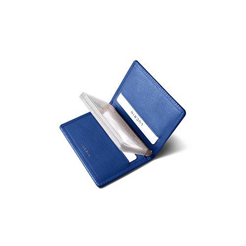 Lucrin - Porta biglietti da visita e carte di credito - Vacchetta liscia - Blu Azzurro