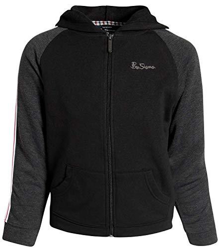Ben Sherman Boys Fleece Hoodie Zip Up Sweatshirt, Black/Knit Taping, Size 4