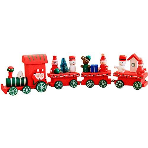 Holacha Pequeño Tren de Navidad, Decoraciones de Navidad Hecho de Maderas para Niños Jardín de Infancia Festivo...