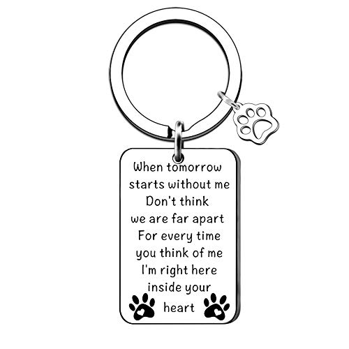 QMVMV Loss of Pet Gift Pet Memorial Keychain Keyring Pet Memorial Keyring Family Dog Family Cat Family Pet Keychain Key Ring Pet Sympathy Gift for Pet Lover Dog Cat Keychain Remembrance Gift
