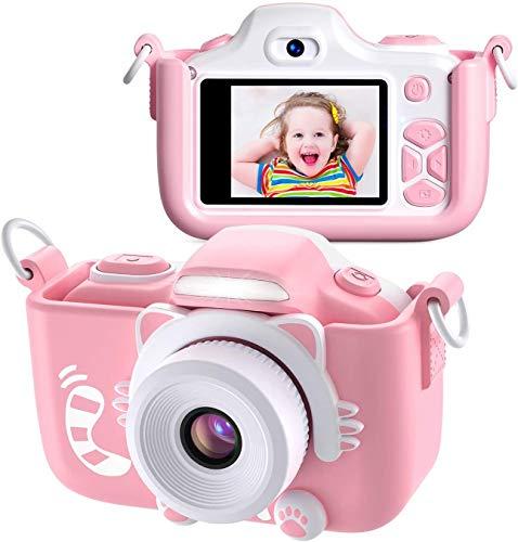 APPLL Kinder Kamera, Digital Fotokamera Selfie und Videokamera mit 12 Megapixel/ Dual Lens/ 2 Inch Bildschirm/ 1080P HD/ 32G TF Karte, Geburtstagsgeschenk für Kinder (Rosa)