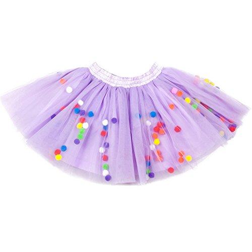Moomintroll Baby Toddlers Girls Pettiskirt Dress 4 Super Soft Layers Rainbow Pom Pom Puff Balls Tutu Skirt with Headband (6-12 Months, Purple)