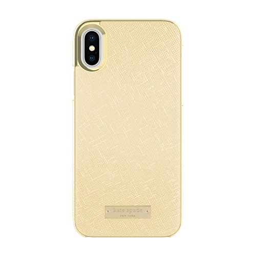 kate spade new york Wrap Case for iPhone X - Saffiano Gold/Gold Logo Plate