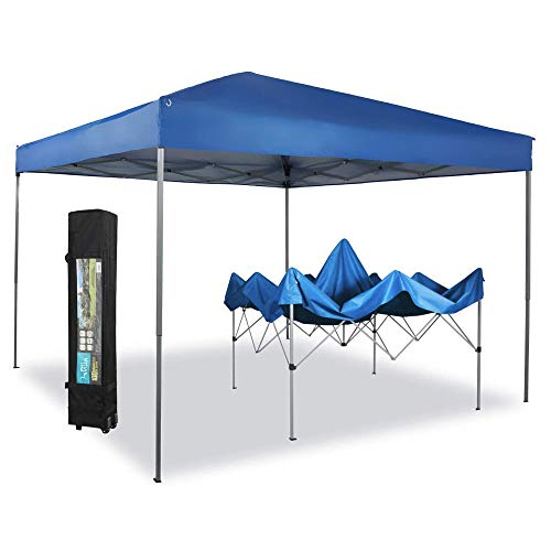 PHI VILLA 10 x 10ft Portable Pop Up Canopy Event Tent Party Tent, 100 Sq. Ft of Shade (Blue)